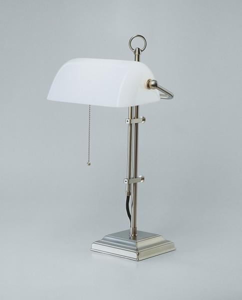 Bankers Lamp / Bankerlampe / Schreibtischleuchte, Messing Nickel matt, Glas weiß glänzend, Höhe 50 cm, 230 V, 1 x E27 60 W